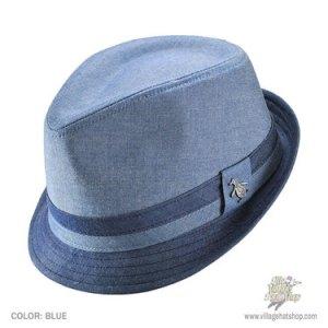 A blue trilby
